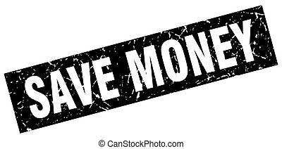 square grunge black save money stamp