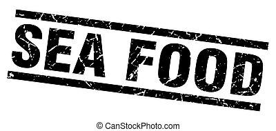 square grunge black sea food stamp