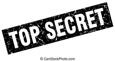 square grunge black top secret stamp