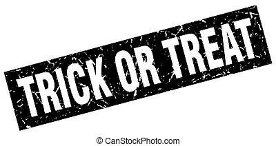 square grunge black trick or treat stamp