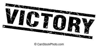 square grunge black victory stamp