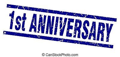 square grunge blue 1st anniversary stamp