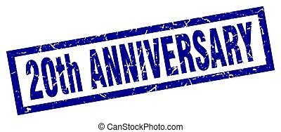 square grunge blue 20th anniversary stamp