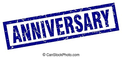 square grunge blue anniversary stamp
