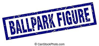 square grunge blue ballpark figure stamp