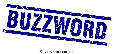 square grunge blue buzzword stamp