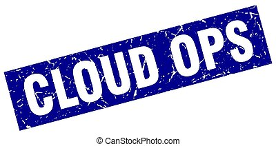 square grunge blue cloud ops stamp
