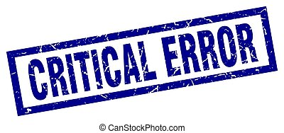 square grunge blue critical error stamp