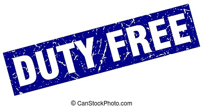 square grunge blue duty free stamp