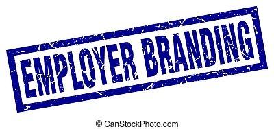 square grunge blue employer branding stamp