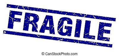 square grunge blue fragile stamp