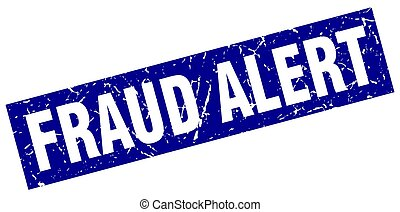 square grunge blue fraud alert stamp