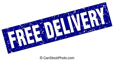 square grunge blue free delivery stamp