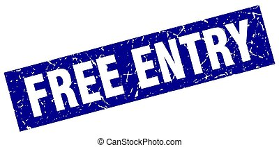 square grunge blue free entry stamp
