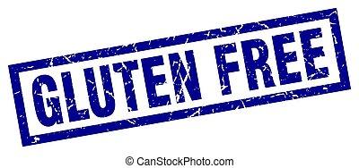square grunge blue gluten free stamp