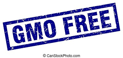 square grunge blue gmo free stamp
