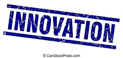 square grunge blue innovation stamp