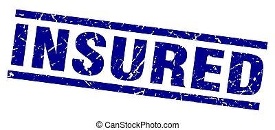 square grunge blue insured stamp