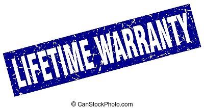 square grunge blue lifetime warranty stamp
