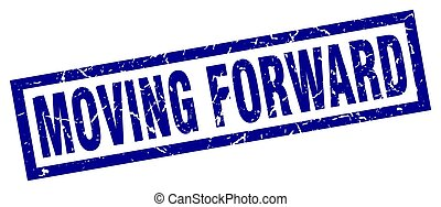 square grunge blue moving forward stamp