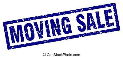 square grunge blue moving sale stamp