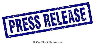 square grunge blue press release stamp