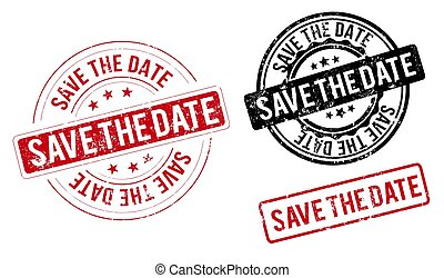 square grunge blue save the date stamp