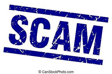 square grunge blue scam stamp