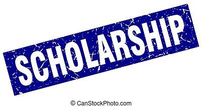 square grunge blue scholarship stamp