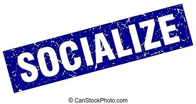 square grunge blue socialize stamp