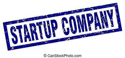 square grunge blue startup company stamp