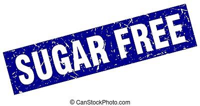 square grunge blue sugar free stamp