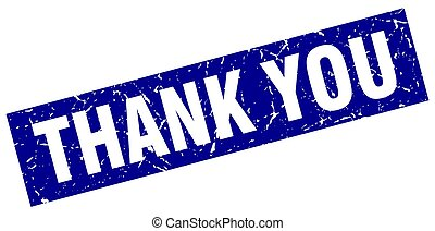 square grunge blue thank you stamp