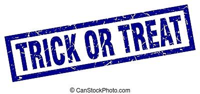 square grunge blue trick or treat stamp