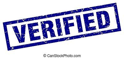 square grunge blue verified stamp