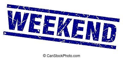 square grunge blue weekend stamp