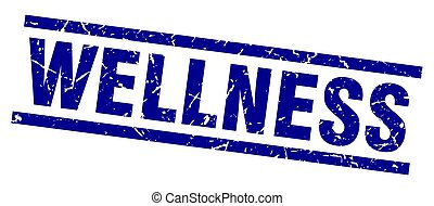 square grunge blue wellness stamp