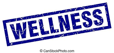 square grunge blue wellness stamp
