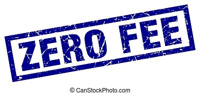 square grunge blue zero fee stamp
