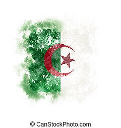 Square grunge flag of algeria