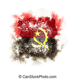 Square grunge flag of angola