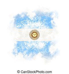 Square grunge flag of argentina