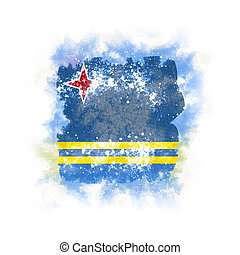 Square grunge flag of aruba