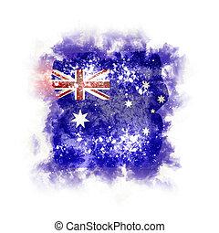 Square grunge flag of australia