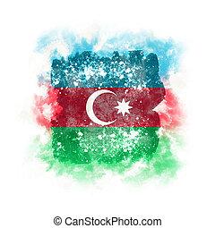 Square grunge flag of azerbaijan