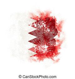 Square grunge flag of bahrain