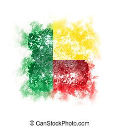 Square grunge flag of benin