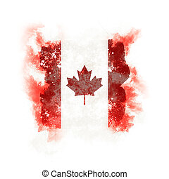 Square grunge flag of canada
