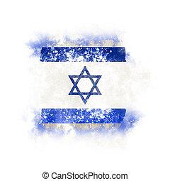 Square grunge flag of israel