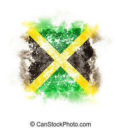 Square grunge flag of jamaica